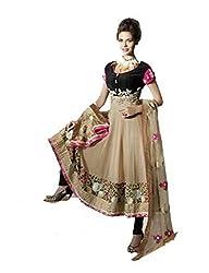 Nirali Womens Georgette Fawn Black Salwar Kameez, Semi-Stitched