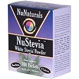 NuNaturals Nustevia White Stevia Powder, 100 Count