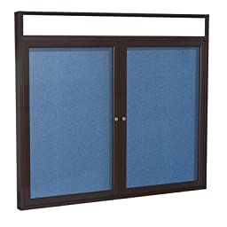 2 Door Outdoor Enclosed Bulletin Board Size: 4\' H x 5\' W, Frame Finish: Bronze, Surface Color: Ocean