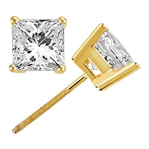 3.00ct. Princess Cut Diamond Stud Earrings 18k Yellow Gold (G-H, VS2-SI1)