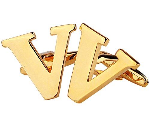 Gold Plated Mens Shirt Cufflinks for Wedding Business Brass Alphabet Letter V Golden - Adisaer Jewelry