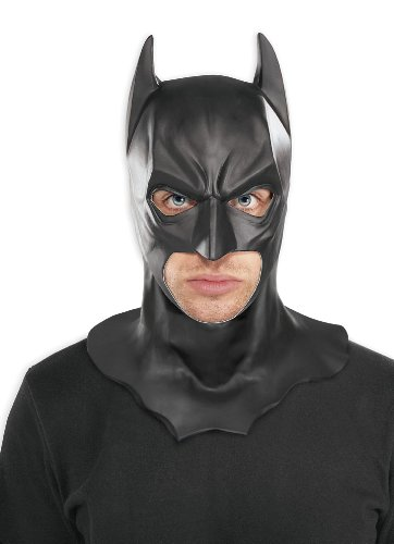 Batman The Dark Knight Adult Batman Full Overhead Latex Mask, Black, One Size (Batman Rubber Cowl compare prices)