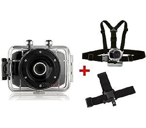 PACK Camera Embarquée Sport Extreme Etanche HD avec fixation harnais poitrine et bandeau tête WINUP® - Type GoPro