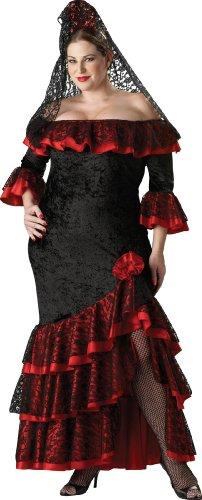 Incharacter Costumes, Llc Senorita Adult Plus Panne Gown, Black/Red, Xxx-Large front-898062