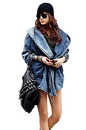 Ninimour- Womens Punk Hooded Coat Trench Outerwear Jacket (Skull) (blue)