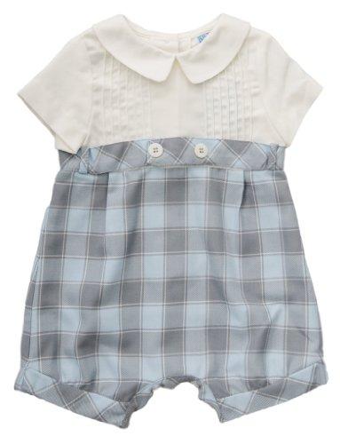 Luli & Me Baby-Boys' Check Shortalls Blue 3M