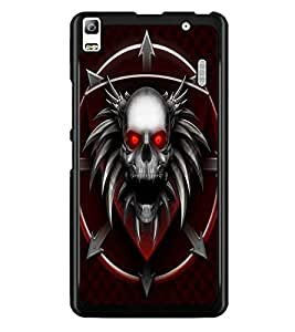 PrintDhaba Devil Skull D-2377 Back Case Cover for LENOVO A7000 (Multi-Coloured)