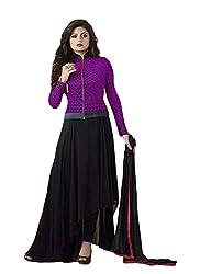 Look N Buy Women's Georgette Salwar Suit Dress Material (H200-04_purple)