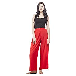 Pistaa Womens Rayon Solid Red Ethnic Plazzo Pant Bottom