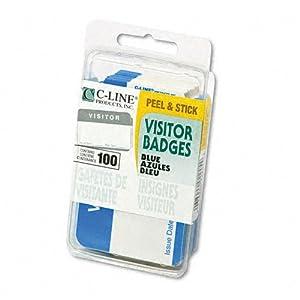 """C-Line® Self-Adhesive Name Badges, """"Visitor"""", 2 x 3 1/2, Blue, 100 Per Box"""
