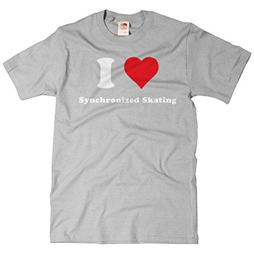 ShirtScope Adult I Heart Synchronized skating T-shirt - I Love Synchronized skating Tee Small Heather Grey