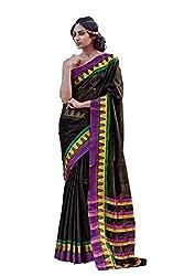 AASRI Women Black Cotton Blend Printed Work Saree
