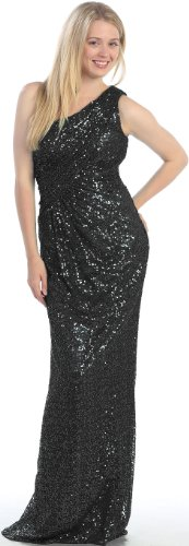One Shoulder Long Formal Prom Ball Gown Dress #7043 (8, Black)