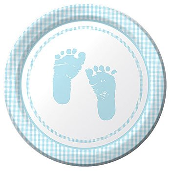Plaid It's a Boy Footprints Lunch Plates, 8ct, Baby Shower Supplies and Decor