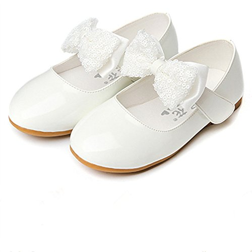 Maxu Girls PU Fashion Dress Flat,White,Toddler,8.5M (Flower Girl Shoes White compare prices)