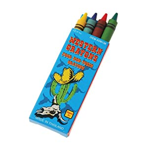 Cowboy Western Crayons : package of 12