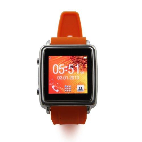 E-THINKER Pantalla t�ctil Smartwatch inteligente Reloj Bluetooth con SMS Sync, Agenda Sync altavoz, vibraci�n, Alerta de llamada entrante, Display digital de tiempo y alarma anti-perdida para el tel�fono m�vil de Bluetooth tales como Iphone, Samsung S3 I9300, Galaxy S4 y Andorid (naranja)