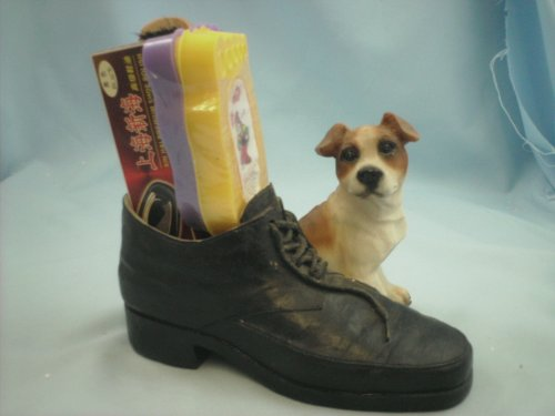 Shoe polishing kit, with a 'Jack Russel' style dog & boot ornament 17/8006