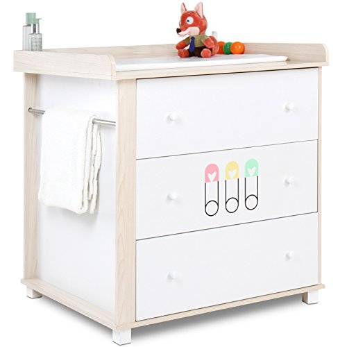 Infantastic baby changing unit nursery chest table with 3 Nursery chest of drawers with changer