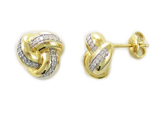 10k Yellow Gold Plated Sterling Silver Diamond Knot Earrings (1/4 cttw, J Color, I2-I3 Clarity)