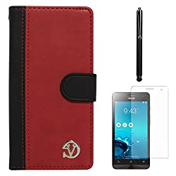 VanGoddy Premium Self Stand Mary Wallet Flip Book Cover Case for Asus Zenfone 5 (Red) + Matte Screen + Stylus