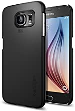 Galaxy S6 Case, Spigen® [Exact-Fit] Galaxy S6 Case Slim **NEW** [Thin Fit] [Smooth Black] Premium Matte Finish Hard Case for Galaxy S6 (2015) - Smooth Black (SGP11308)