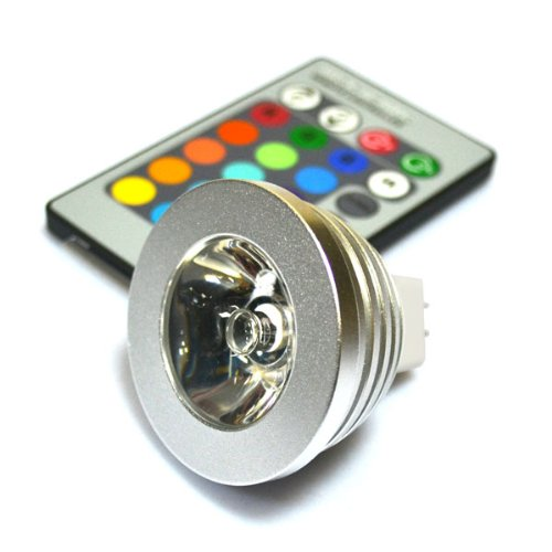 Ledwholesale With Remote Control, Packed In Tens, Delicate Mr16 3W Rgb Led 16 Colors Changing Light Lamp Ac / Dc 12V