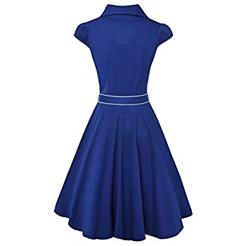 Anni Coco® Women's 1950s Cap Sleeve Swing Vintage Party Dresses Multi Coloredblue