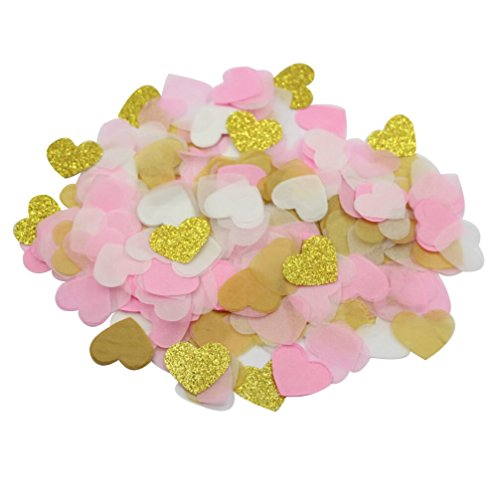Parmay Pink Gold Paper Heart Confetti 1 Inch Wedding Table Decoration Pack of 8000