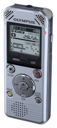 Olympus WS-811 Digital Stereo Voice Recorder with Flash 2GB Memory, WMA, MP3 and Built in USB Key – Silver