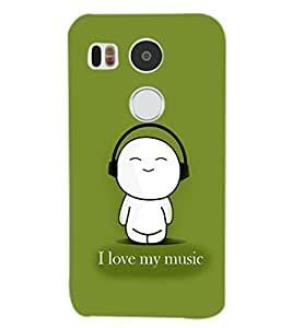PrintDhaba MUSIC LOVE D-6621 Back Case Cover for LG NEXUS 5X (Multi-Coloured)