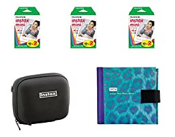 Fujifilm Instax Mini Camera Essentials Kit: Case, Purple Photo Album and Film (60 images) by MPC