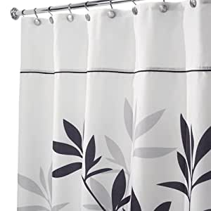 InterDesign Leaves Stall Shower Curtain Black And Gray 54 Inch