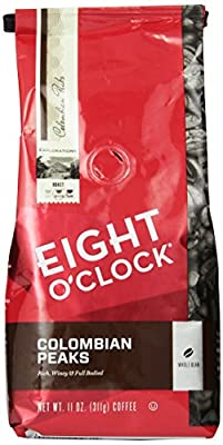 Eight O'Clock Colombian Peaks Whole Bean Coffee, 11-Ounce Bags (Pack of 6)