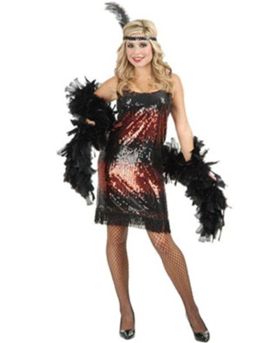 Women's Sexy Red Stretch Sequin Flapper Costume Dress