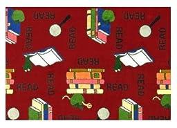 Bookworm Red - 3\'x5\' Custom Stainmaster Premium Nylon Carpet Area Rug ~ Bound Finished Edges