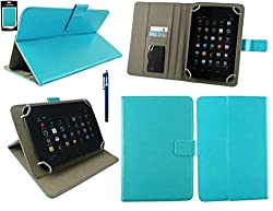 Emartbuy® Videocon VA81M Tablet 7 Inch Universal Range Turquoise Plain Multi Angle Executive Folio Wallet Case Cover With Card Slots + Stylus