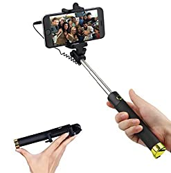 Livestream®   Wired Foldable Selfie Stick With Phone Holder and Built-In Wire Bluetooth Remote Shutter for iPhone, Samsung and Android Smartphones - Plug & Play (Gold)