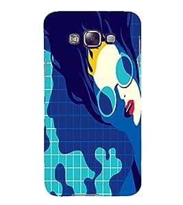 PrintVisa Fashion Swimming Girl Design 3D Hard Polycarbonate Designer Back Case Cover for Samsung Galaxy E7