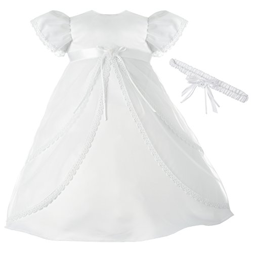 Lauren Madison Baby-Girls Newborn Sheer Over Satin Dress Gown Outfit, White, 6-9 Months