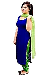 Yeoja Creaton Women's Blue & Green Georgette Unstitch Dress Material with Dupatta and Inner