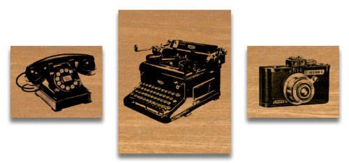 Cavallini & Co. Vintage Designed Wooden Rubber Stamp Set in a Tin - Assorted (Pack of 3)