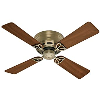 Hunter 23860 Low Profile lll 42-Inch 4 Walnut Blades Ceiling Fan, Antique Brass