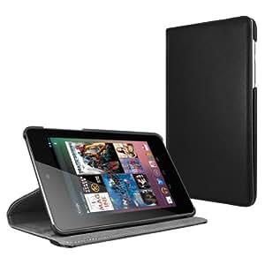 MiniSuit 360 Rotating Case + Wake/Sleep Smart Cover + Stand for Google Nexus 7 (Black PU Leather)