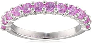 Sterling Silver Created Pink Sapphire Semi-Eternity Ring, Size 8