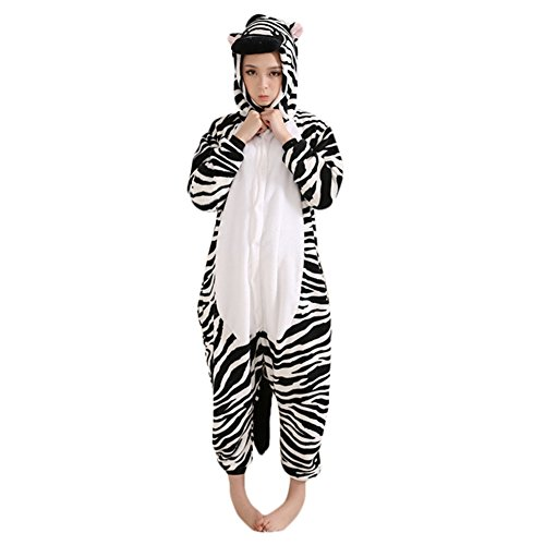 Lovers Cartoon Animal Zebra Coral Fleece Convenient For Toilet One-piece Pajamas Cosplay Costume