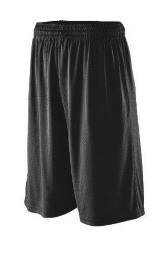 Augusta Sportswear Extra Long Tricot Mesh Short, Black, Large front-1002905
