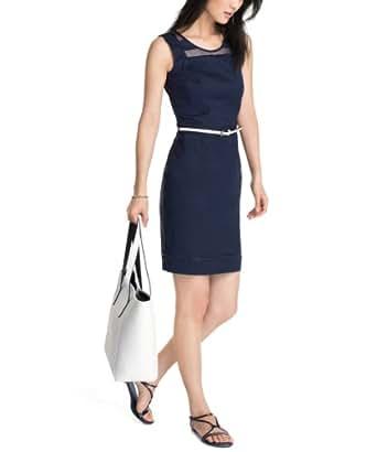ESPRIT Collection Damen Etui Kleid mit Gürtel, Knielang, Einfarbig, Gr. 34, (DARK NIGHT BLUE 411)
