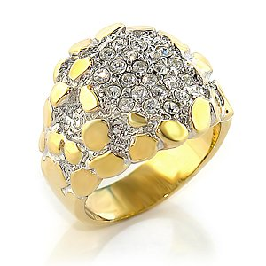 Two Tone Brass Ring with Clear Swarovski Crystals