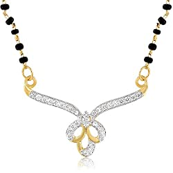 Mahi Gold Plated Amour Mangalsutra Pendant of Brass Alloy with CZ for Women PS1191942G